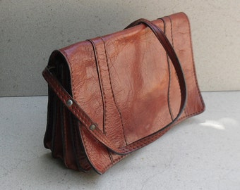 vintage Italian leather shoulder bag .Vintage envelope shoulder bag .