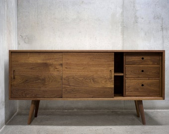 "60"" Solid Black Walnut Buffet Table/ Sideboard/ Credenza/ Cabinet"