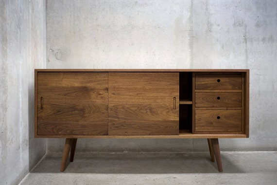 Solid Walnut Buffet ~ Solid black walnut buffet table sideboard credenza