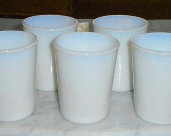 5 Vintage Opaline Moonstone White Opalescent Glass tumblers glasses