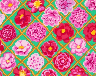 """LAMINATED Cotton  - Kelly Lattice and Roses, 56"""" Wide, BPA & PVC Free"""