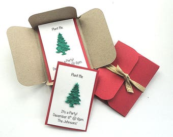 12 Mini Seed Paper Cards - Christmas party invitations, gift tags, favors, announcements, thank you cards, customer appreciation gifts