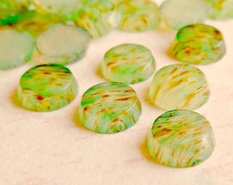 12 Vintage 7mm Tiny Japanese Light Green and Multi Color Spots Glass Cabochons (10-53-12)