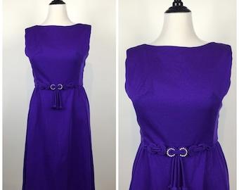 Vintage 60s dress / 1960s dress / purple dress / full skirt / party dress / day dress / fit and flare dress / 7025