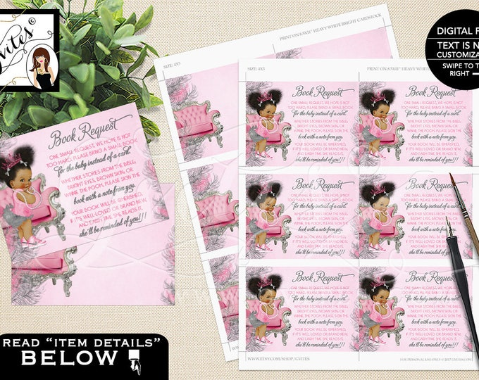 """One Small Request Pink and Silver Book For Baby, Princess African American Baby Vintage Girl, Afro Puffs Tiara 4x3"""" 6/Sheet. #TC008PSSS"""