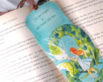 Dragon Bookmark, Illustrated bookmark,  unique bookmarks