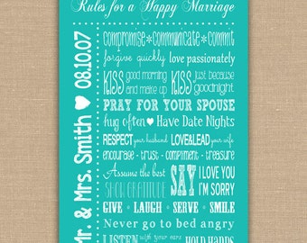 Rules for a Happy Marriage Sign PRINTABLE. Custom Wedding Gift.  Personalized Wedding Anniversary Gift. Bedroom decor. DIGITAL file