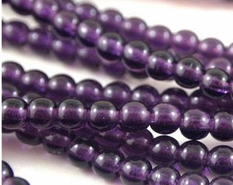 4mm Druk Beads-Tanzanite-Qty 50 (CZ 4R T)
