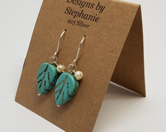 Turquoise Howlite Leaf Drop Silver Earrings. 925 Sterling Silver. Pearl Accent. Designs by Stephanie