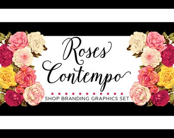 Modern Roses Shop Branding Banners, Avatar Icons, Business Card, Logo Label + More - 13 Premade Graphics Files - ROSES CONTEMPO