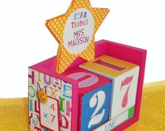 Teacher Gift Wood Block Perpetual Calendar Personalized Star Teacher