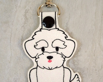 Maltese - dog keychain - pet charm - snap tab key fob - keychain for women