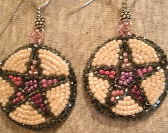 Pink Purple and Cream Multi Color Pentagram Seed Bead Hand Embroidered Dangle Earrings