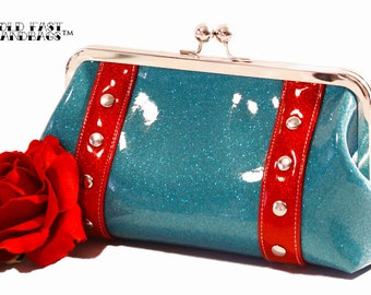 Sky Blue Glitter Clutch - Blue Vinyl Purse - Sparkle Vinyl Clutch - Rockabilly Bag - MADE TO ORDER