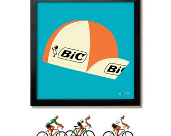 Tour de France, Cycling Art, Gift for Cyclist, Cycling Cap Print BIC