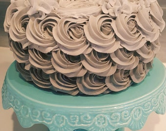 """Fake Ombre Gray Rosette Cake. Approx. 8.25""""w x 4.75""""h Smash Cake Prop First Birthday"""
