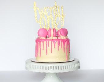 Twenty one glitter Cake Topper :  Birthday