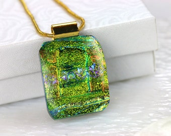 Green Layered Dichroic Fused Glass Pendant Necklace Jewelry Fused Glass Pendant Dichroic Silver Necklace 001161, GetGlassy