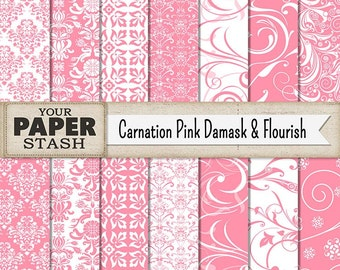 Pink Digital Paper, Baby Girl Scrapbook Paper, Damask, Flourish & Filgree Patterns for Weddings, Planners, Showers, Commercial Use, Download