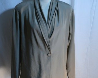 Vintage Clothing Blouse 1980s ALEXANDRIA Taupe Career Wear Shawl collar 80s Long sleeved Classic