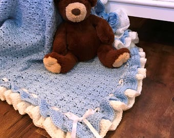 Baby blanket crochet, Blue/White, soft baby yarn, FREE USA shipping, baby shower gift, baby afghan blanket, newborn
