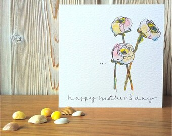 """Mother's Day Card - """"White Buttercups"""" - Illustration - Art"""