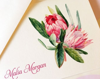 Greeting Cards, Note Cards, Stationery, Card Set, Personalized Card, Protea, Flower Card, Set of 8