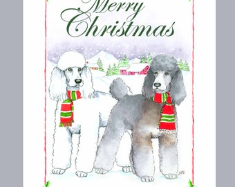 Poodles- White and Phantom Sable, Christmas Cards, Box of 16 Cards and 16 Envelopes