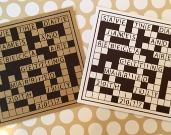 Rustic Crossword Themed Save the Date