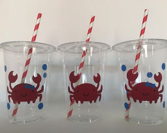 Crab Party Cups, Crab Birthday Party Cups, Ocean Party Cups, Beach Party Cups, Crab Baby Shower Party Cups, Mermaid Party Cups