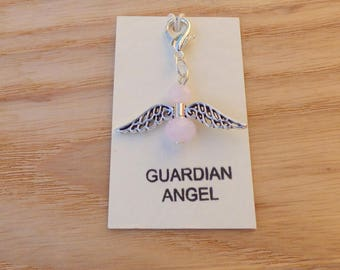 GUARDIAN ANGEL CHARM, crystal angel, pink angel bag charm, angel keyring charm, angel purse charm, angel zip pull, good luck charm.