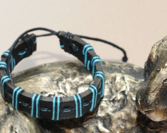 Hand Made Mens Black and Blue Leather Surfer Style Bracelet Adjustable