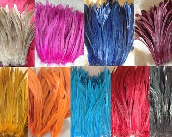 """Dyed Rooster Tail Feathers.. 3"""" Pack Of 8"""" - 10"""" in Length. Perfect For Making Headpiece & Costumes!! (Different Colors)"""