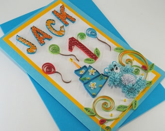 Personalized 1st Birthday Card - Baby Boy First Birthday Card - One Year Old Card - Quilling Card with Name and Age - Handmade Greeting Card