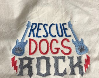 New kitchen tea towel with RESCUE dogs ROCK