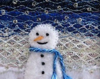 Snowman Christmas card - 5.5 inch square fabric art card - beaded embroidered handmade Xmas card - textile art for framing - fibre art card
