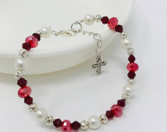 Womens Charming Bracelet and Matching Earring Set with white pearl bracelet with red crystals and sterling silver beads.