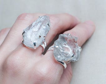 Raw Crystal Ring Silver Gemstone Ring Adjustable Ring Raw Quartz Ring Women Boho Ring Raw Stone Ring Silver Ring Clear Quartz Ring Statement