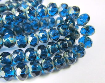 10 Capri Blue Picasso Czech glass 7mm x 5mm faceted rondelle jewelry beads