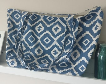 Handmade Blue and White Lined Tote Bag - with internal pocket