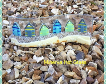 Fused Glass Beach Huts, Curved Glass, Curved Art Glass, Fused Glass, Beach Huts, Window Suncatcher Light Catcher, Beachy, Minerva Hot Glass