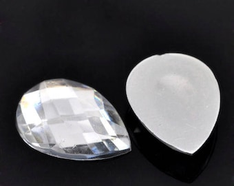 Cameo/cabochons 10 x white teardrop acrylic faceted 18 x 13 mm
