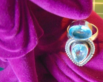 Blue Topaz and Sterling Silver Ring.... size 8.5