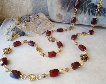 Long Necklace.Red Jasper Stone.Metal plated in 24K gold.Silver.Lariat.Statement.Double Strand.Layering.Multi Strand.Bridal.Chunky.Handmade.