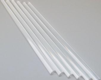"""6 pc Clear acrylique plastique extrudé tige Lucite diamètre 3/16"""" 1/4"""" 3/8 """"1/2» par 12"""" longueur"""