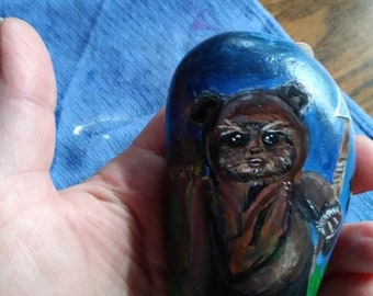 Ewok, Star Wars, hand painted in acrylic on beach rock.