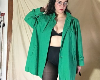 Vintage 80's Kelly Green Trench Coat