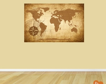 Map Wall Decal,Rustic Map Fabric Wall Decal,Removable and Repositionable Wall Sticker for Home or Office