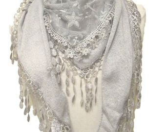 Beautiful knitted triangle scarf/shawl with embroidered lace panel & teardrop tassel tassel trim - grey - CFOC0922GY