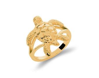 14k solid gold sea turtle ring. nautical jewelry, sea life jewelry.